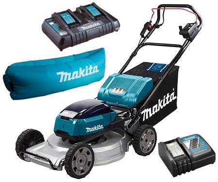 Фото Аккумуляторная газонокосилка Makita + Быстрозарядное устройство + Аккумулятор 18В LXT 3 Аг + Надувной диван SOFA-DLM533Z