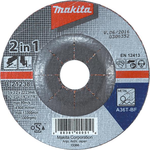 Фото Шлифовальные диски по металлу 2 в 1 Makita B-21238